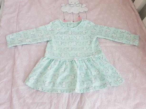 Sukienka miętowa kotki 68 Little Me