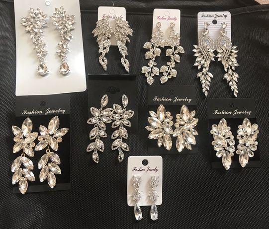 Kolczyki - wesele, ślub, biżuteria ślubna, kryształki, boho