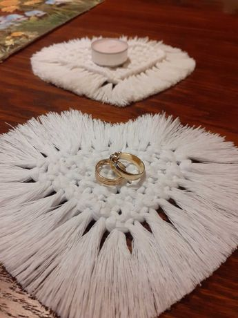 Podkładka serce z makramy ' sznurek 3mm Bobbiny