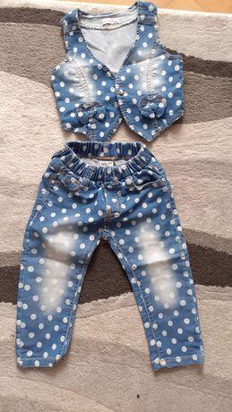 Kamizelka, jeansy - zestaw w r. 86