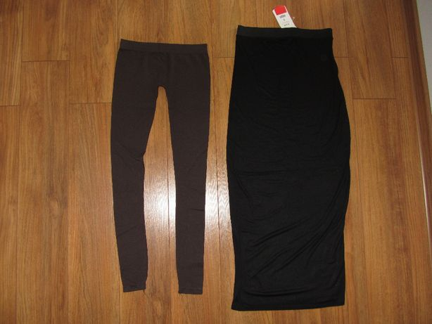 NOWA! Spódniczka maxi czarna *CAMEO ROSE* + legginsy *BERSHKA* r.36