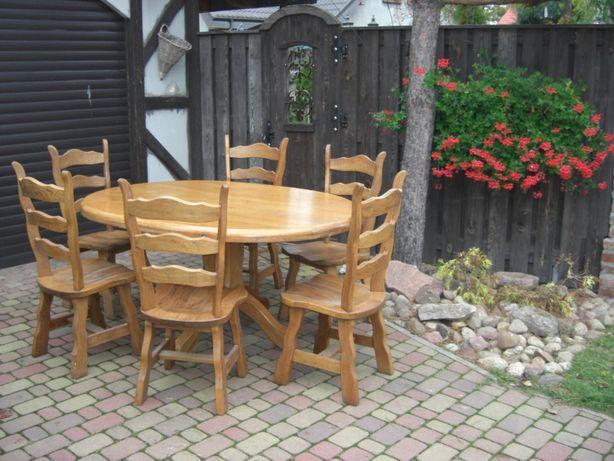 Stół dębowy owalny plus 6 krzeseł prawdziwe meble
