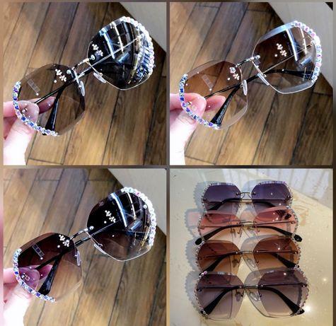 Подарок женщине! Солнцезащитные очки со стразами,камнями.Антибликовые.