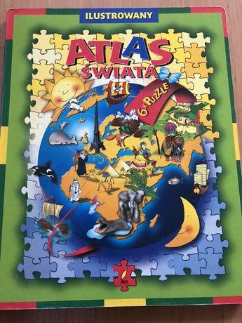 Atlas swiata - puzzle x 6 - ksiazka