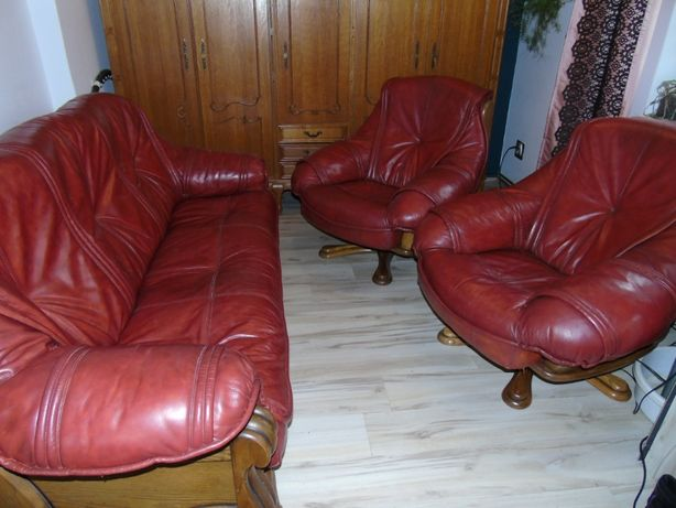 Kanapa skórzana +dwa fotele