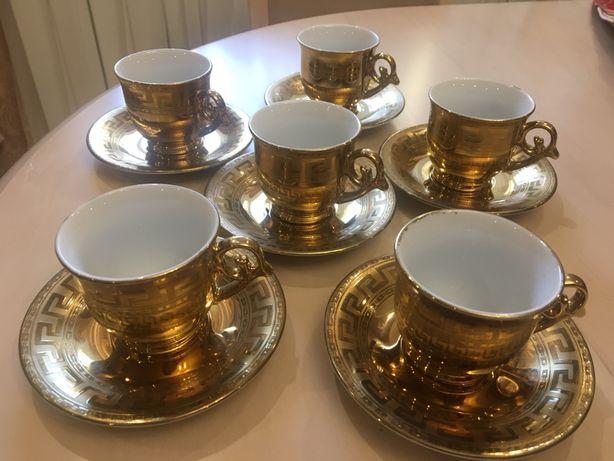 Чашки для кофе набор с блюдцем Версаче узор Versace из Армении