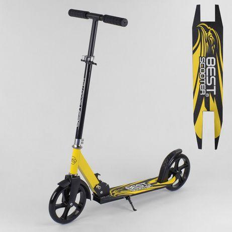 Самокат Best Scooter 38318 Двухколесный, Подножка, Желтый