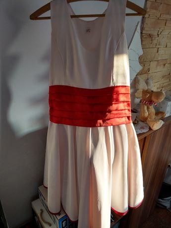 sukienka 42 chrzciny wesele czerwona