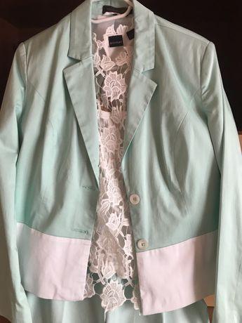 Komplet R46 Bonprix- zielony pastelowy żakiet,spodnie,top,bluzka