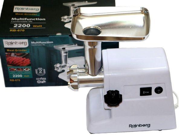 Rainberg. Электрическая | RB 670, Мясорубка | насадки + сок. 2200W