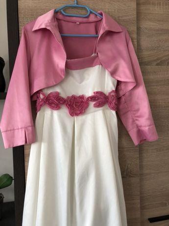 Sukienka smyk różowa biała bolerko emo lou dziecięca 158 164 tani