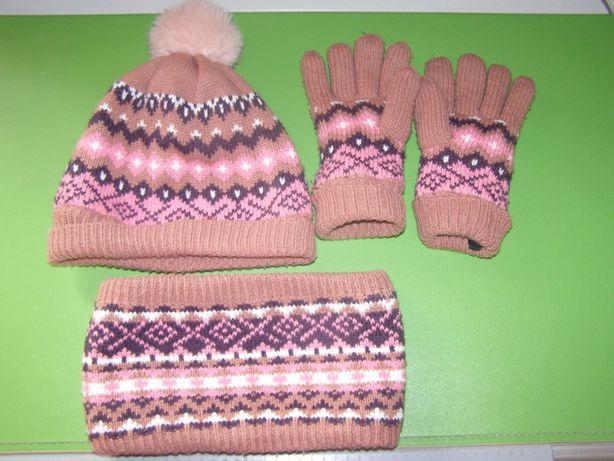 Комплект Vertbaudet шапка снуд перчатки дівчинці 8-10 років