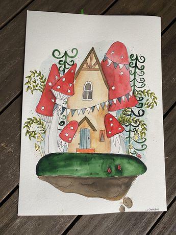 Obraz grzyby las domek muchomory pokój dziecka a3 vintage akwarela