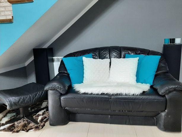 Sofa skórzana, czarna