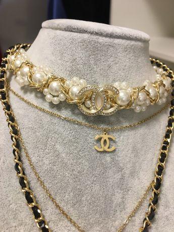 Naszyjnik Louis Vuitton CC zloty celebrytka perly lancuszek zawieszka