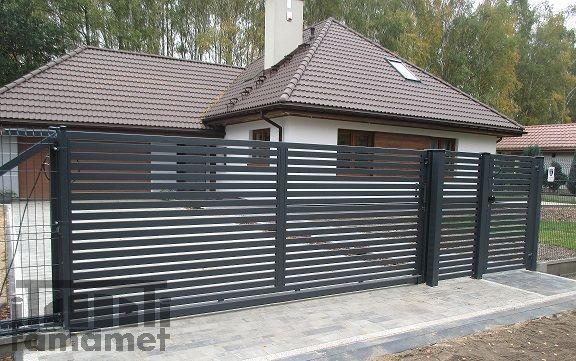 Brama przesuwna Nowoczesna-montaż ogrodzeń - producent