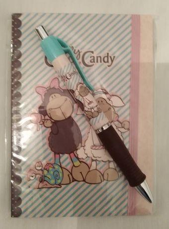 Conjunto caderno / bloco de notas A6 + caneta Nici. NOVOS