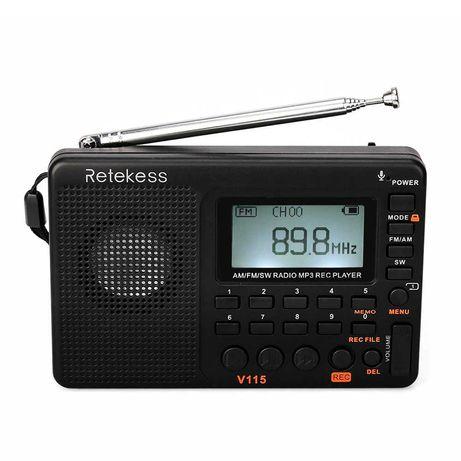 Радиоприемник Retekess V115 FM/AM/SW MP3 радио акумул. TIVDIO TECSUN
