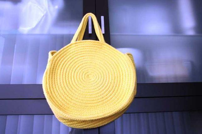 Mala amarela cordas de algodão como nova