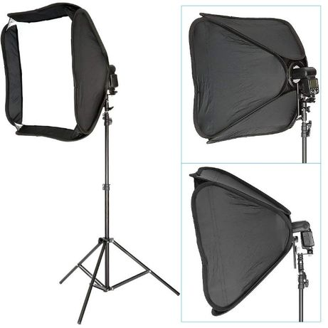 Kit de Estúdio - 1 softbox 80x80 + 1 tripé de 260cm