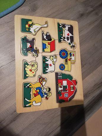 Zestaw układanki, puzzle drewniane