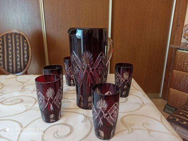 Kryształowy dzbanek do napoi + 6 szklanek.