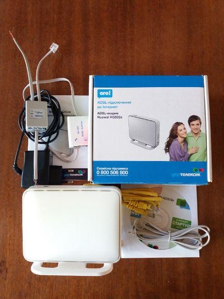 Модем укртелеком Wi-Fi роутер ADSL Huawei HG532e комплект сплитер
