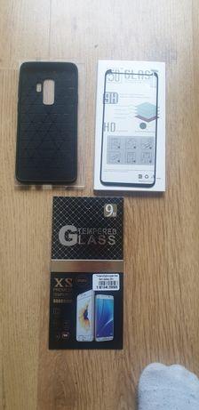 Szkło hartowane 2x i obudowa silikonowa czarna  Samsung S9+