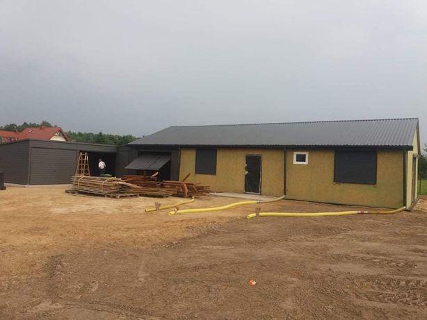Garaż konstrukcja hala blaszak ocieplany 8x16 Iron-Tech