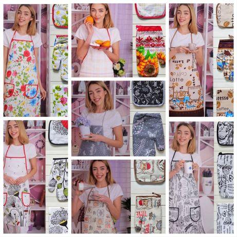 Кухонный набор фартух прихватка перчатка полотенце 4в1