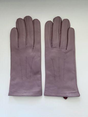 Пурпурные кожаные перчатки marks & spencer мягкая натуральная кожа
