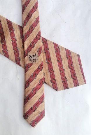 Hermès Красный принт подковы 759 UA Мужской шелковый галстук