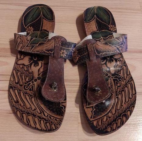 Skórzane, eleganckie, stylowe japonki / klapki damskie - obuwie/buty