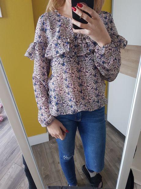 Bluzka różowa w kwiaty lekka r M Sinsay