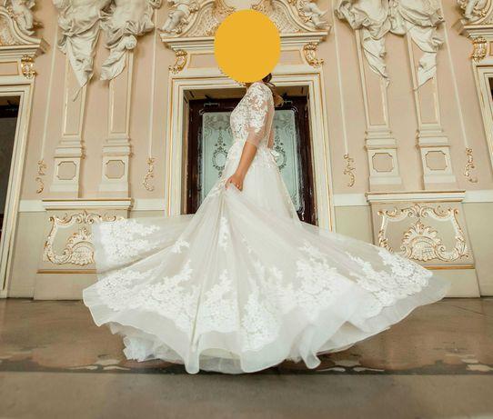Шикарное свадебное платье айвори пудра