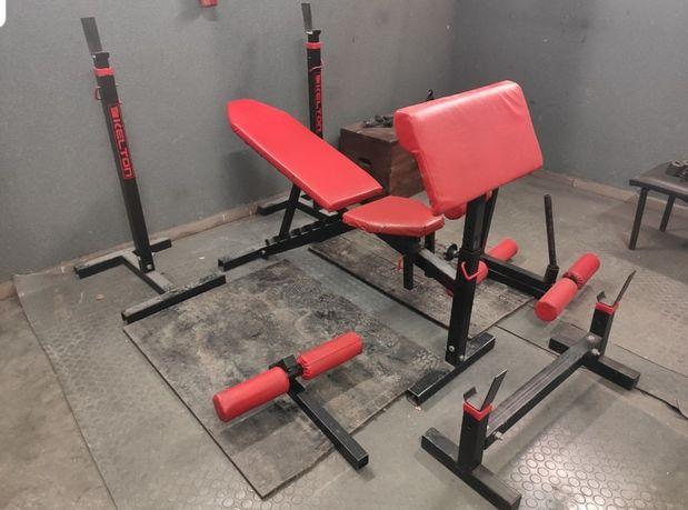 Zestaw siłownia KELTON ławka, stojaki, modlitewnik, prasa itd