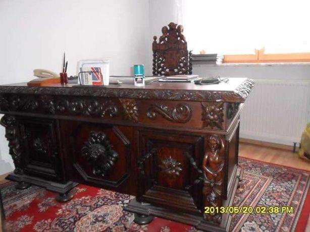 Meble gdańskie /Biurko fotel skórzany/w stylu antycznym
