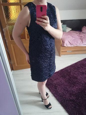 Sukienka suknia r.42 granatowa błyszcząca okazja