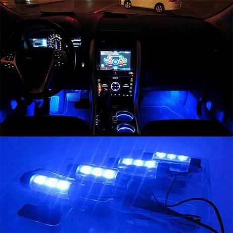 4X3 Luzes Led interior carro Ligação isqueiro NOVO