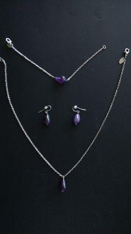 Набор подвеска, браслет и серьги с фиолетовым аметистом