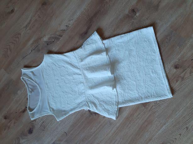 Biała sukienka z baskinką 36
