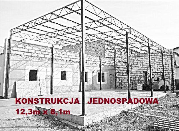 Wiata rolna garaż Hala Magazyn Konstrukcja skręcana 12,3 x 8,1m Blacha