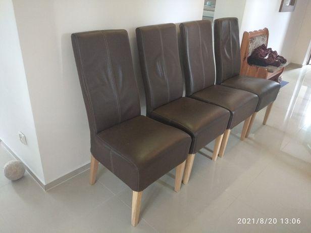 3 krzesła skórzane