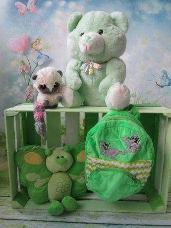 Dziewczynka*Maskotki w zielonej tonacji*Plecak pluszowy*Stan idealny*