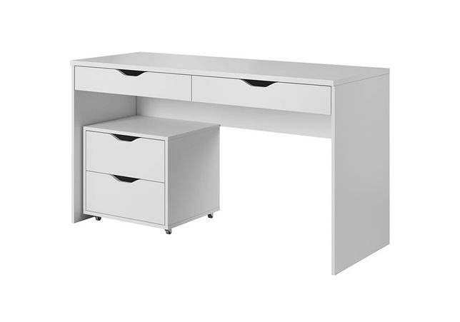 Biurko Mati białe matowe do biura, do pokoju młodzieżowe