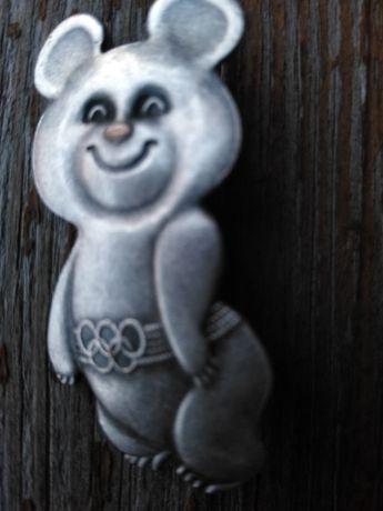 Знак, значок олимпийский мишка посеребрение