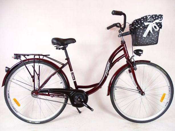 Rower Miejski CITY LADY 28'' + KOSZ Z WYŚCIÓŁKĄ bordo