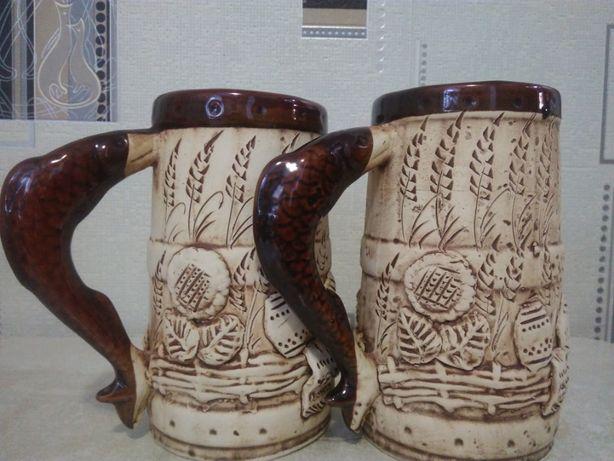 Глиняные бокалы для пива