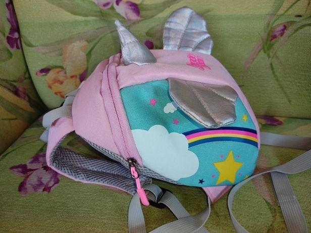 Дитячий рюкзак поводир з ручкою для мами детский єдиноріг единорожек