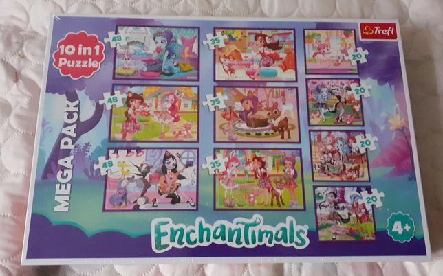 Nowe puzzle Enchantimals 10 układanek w jednym pudełku 4+
